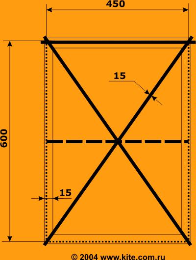 Чертеж и описание процесса изготовлениявоздушного змея с сайта kite.com.ru